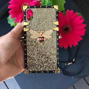 Iphone X new case gold shiny square silicone